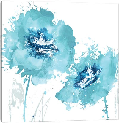 Flower Burst In Aqua II Canvas Art Print