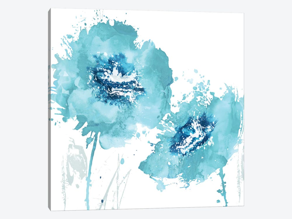 Flower Burst In Aqua II 1-piece Canvas Art Print