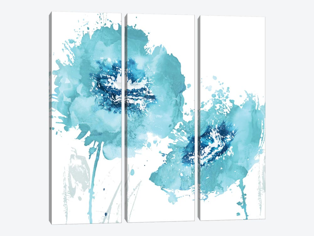 Flower Burst In Aqua II by Vanessa Austin 3-piece Art Print