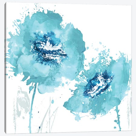 Flower Burst In Aqua II 3-Piece Canvas #AUS13} by Vanessa Austin Canvas Art
