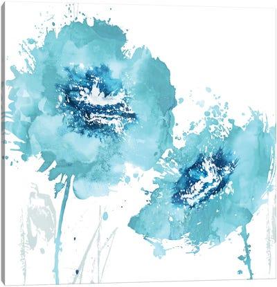 Flower Burst In Aqua II Canvas Art Print