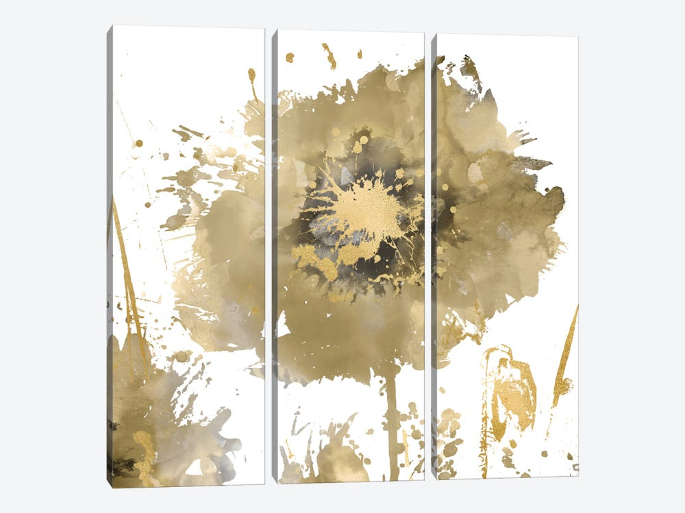 Flower Burst In Gold I 3-piece Canvas Wall Art