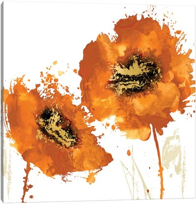 Flower Burst In Mandarin I Canvas Art Print