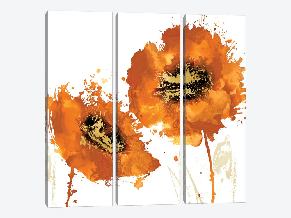 Flower Burst In Mandarin I by Vanessa Austin 3-piece Canvas Artwork