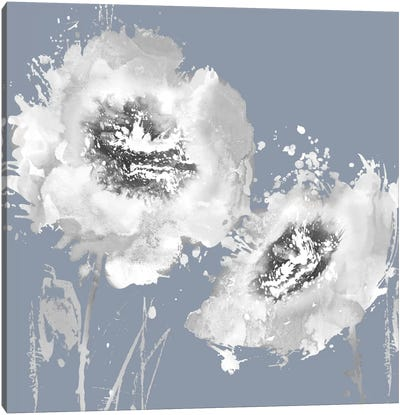 Flower Burst On Grey II Canvas Art Print