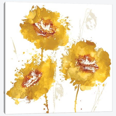 Flower Burst Trio In Amber 3-Piece Canvas #AUS23} by Vanessa Austin Art Print