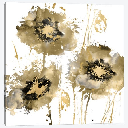 Flower Burst Trio In Gold Canvas Print #AUS24} by Vanessa Austin Canvas Wall Art