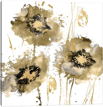 Flower Burst Trio In Gold Canvas Art Print