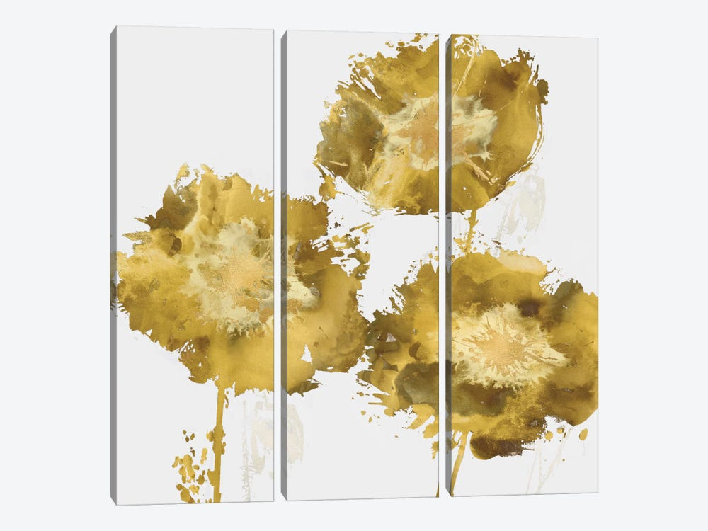 Golden Flower Burst II 3-piece Art Print