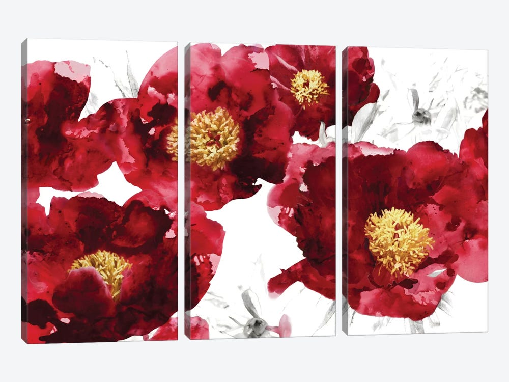 Red Bloom 3-piece Canvas Art Print