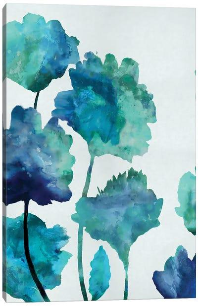 Aqua Blossom Triptych II Canvas Art Print
