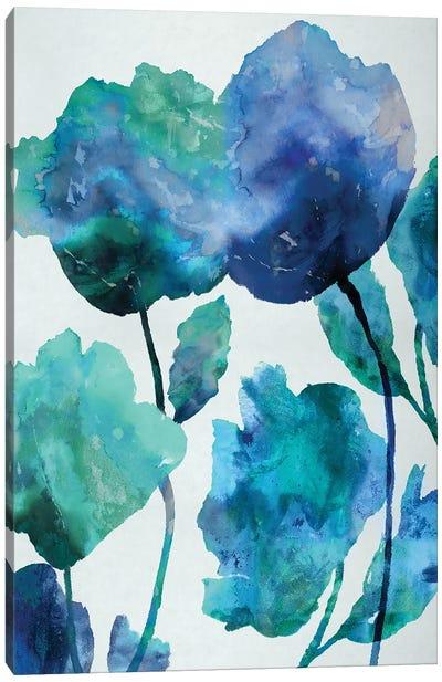 Aqua Blossom Triptych III Canvas Art Print