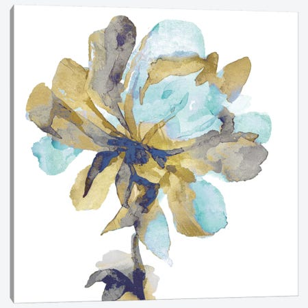 Fresh Bloom Aqua I Canvas Print #AUS58} by Vanessa Austin Canvas Art