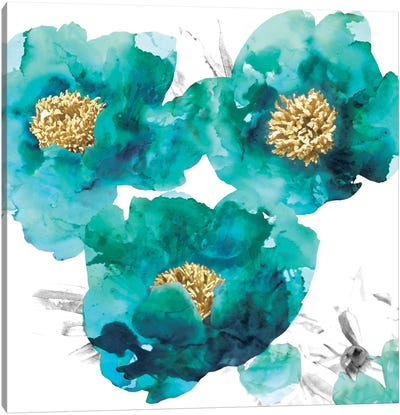 Aqua Trio II Canvas Art Print