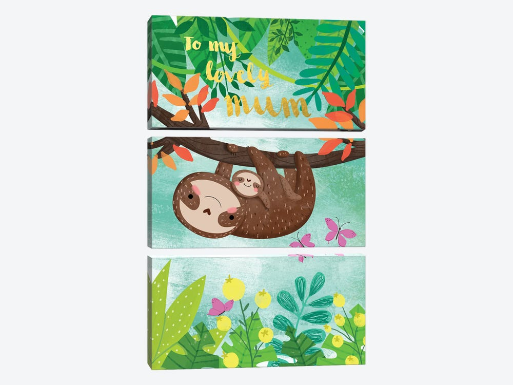 Sloth And Baby by A.V. Art 3-piece Canvas Art