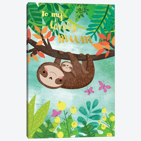 Sloth And Baby Canvas Print #AVA1} by A.V. Art Canvas Print
