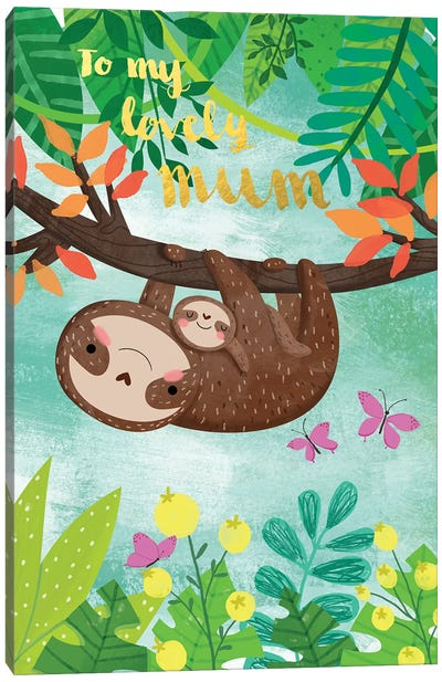Sloth And Baby Canvas Art Print