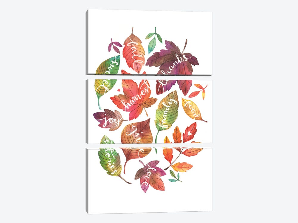 Harvest Leaves by Ana Victoria Calderón 3-piece Canvas Print