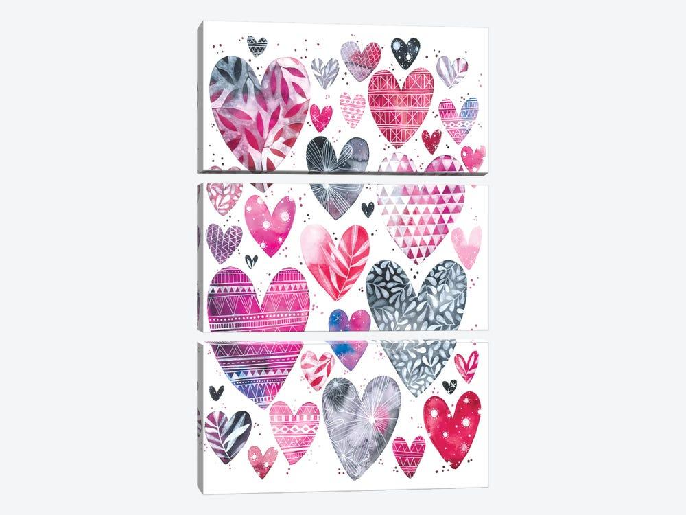 Hearts by Ana Victoria Calderón 3-piece Canvas Art Print