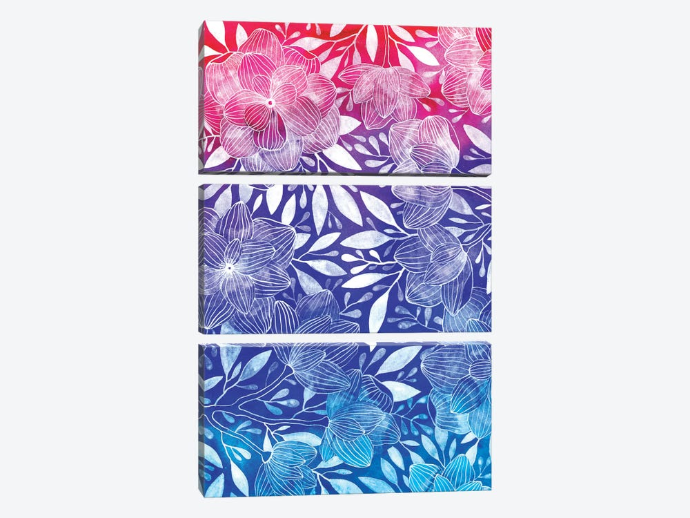 Ombre Floral I 3-piece Canvas Print