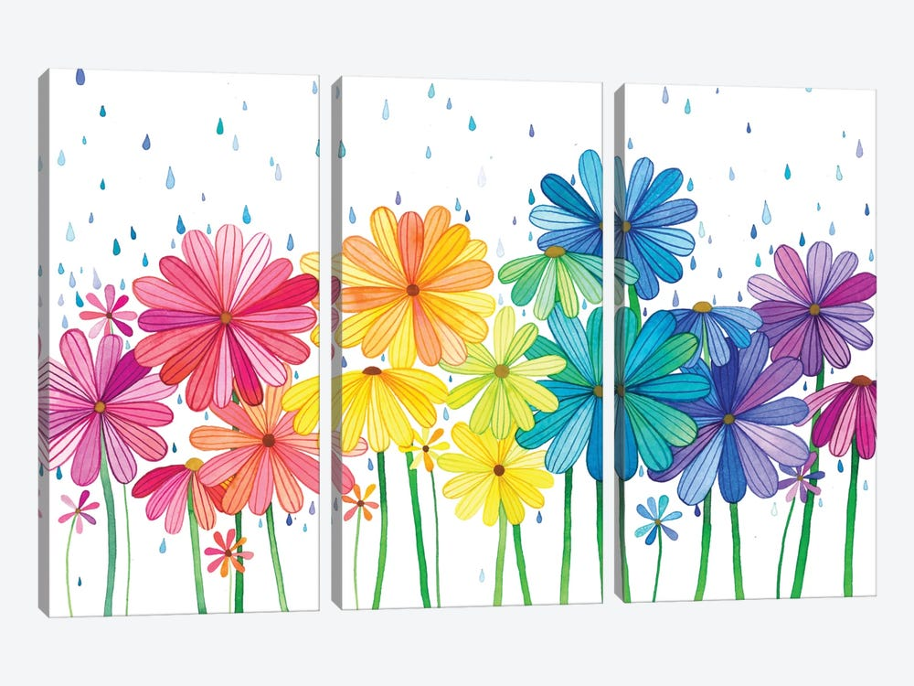 Rain Rainbow by Ana Victoria Calderon 3-piece Canvas Art