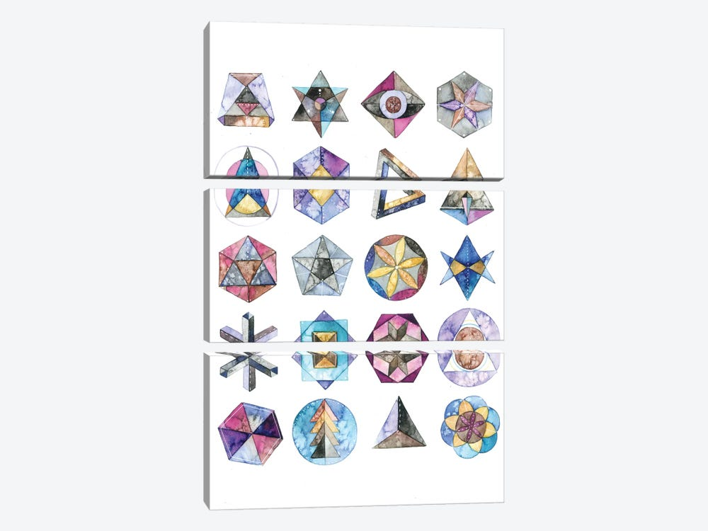 Sacred Geometry by Ana Victoria Calderón 3-piece Canvas Wall Art