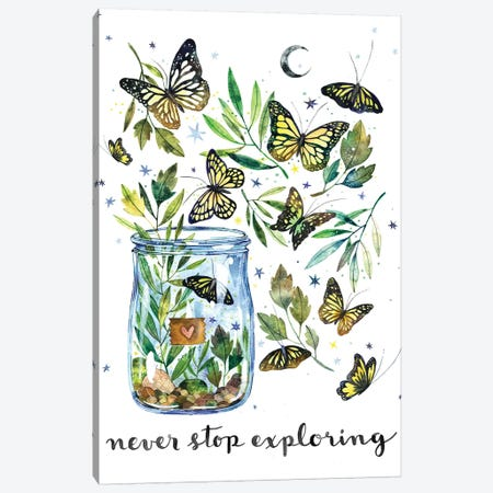 Never Stop Exploring Canvas Print #AVC43} by Ana Victoria Calderón Canvas Print