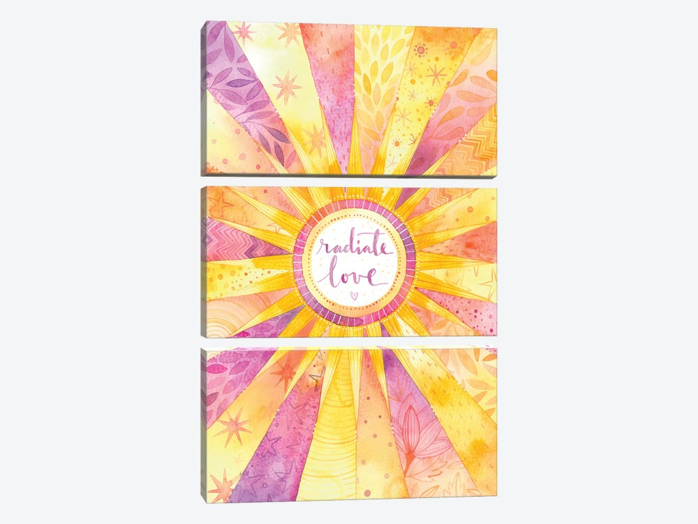 Radiate Love by Ana Victoria Calderón 3-piece Canvas Print