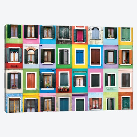 Windows of the World - Burano, Italy Canvas Print #AVG41} by Andre Vicente Goncalves Art Print