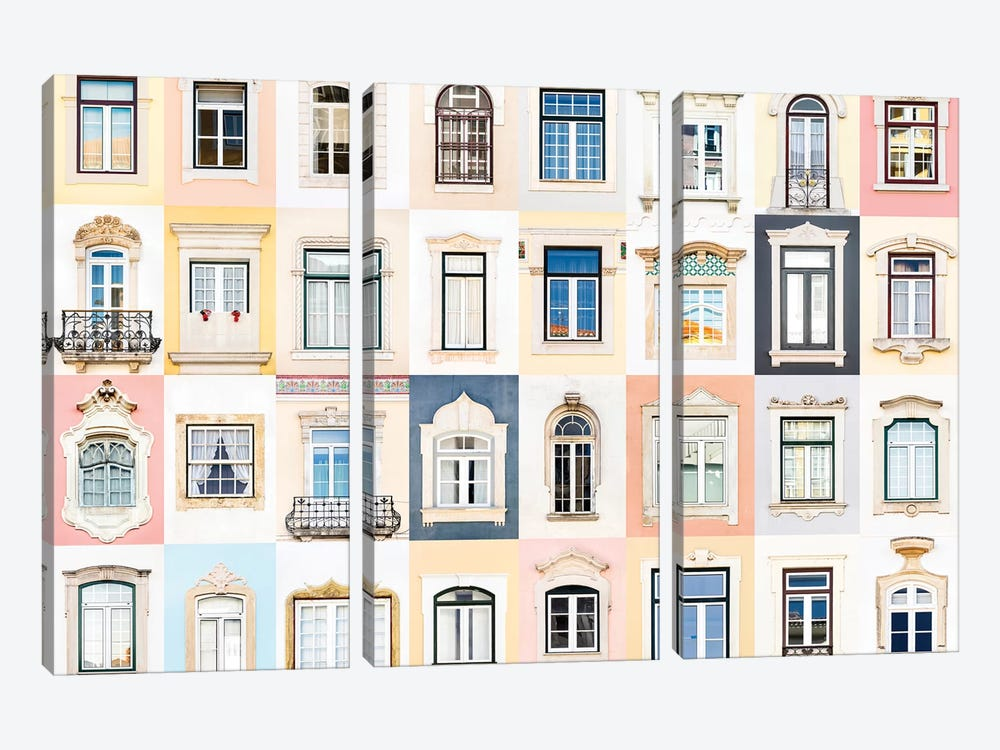 Windows of the World - Coimbra, Portugal by Andre Vicente Goncalves 3-piece Canvas Print
