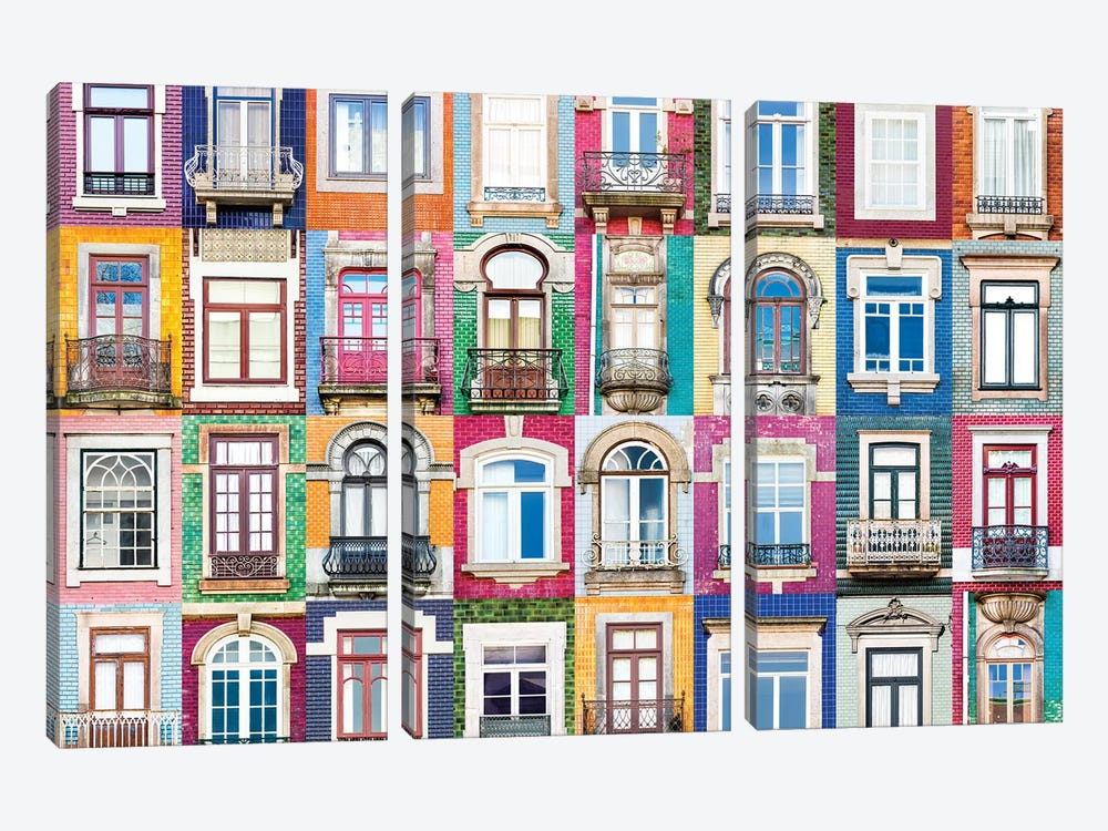 Windows of the World - Porto, Portugal by Andre Vicente Goncalves 3-piece Canvas Wall Art