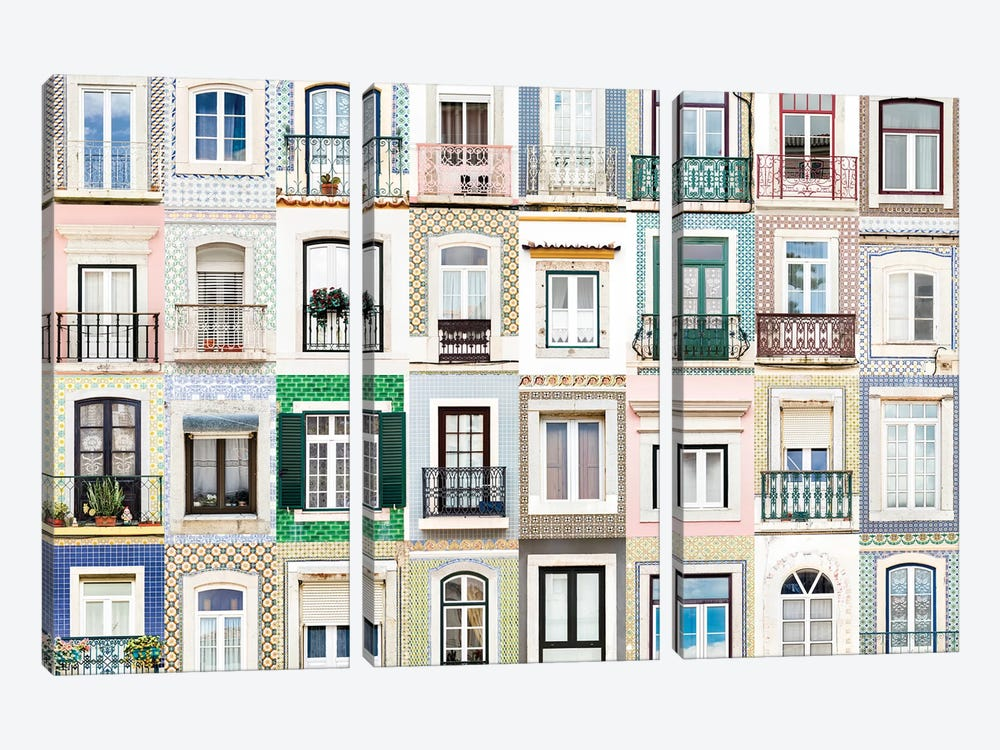 Windows of the World - Sesimbra, Portugal by Andre Vicente Goncalves 3-piece Canvas Print