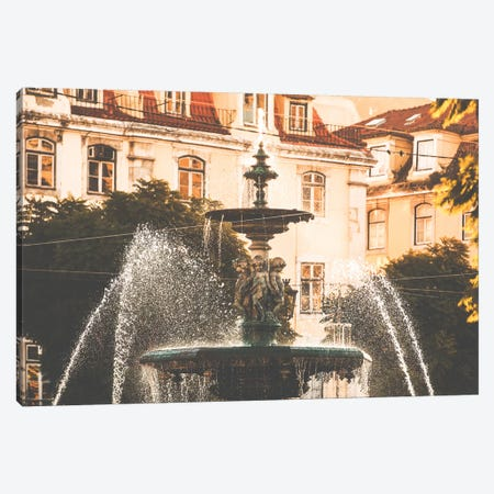 Fountain In The Praca Dom Pedro IV Lisbon, Portugal Canvas Print #AVG67} by Andre Vicente Goncalves Canvas Art