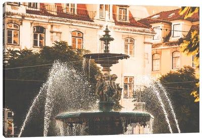 Fountain In The Praca Dom Pedro IV Lisbon, Portugal Canvas Art Print