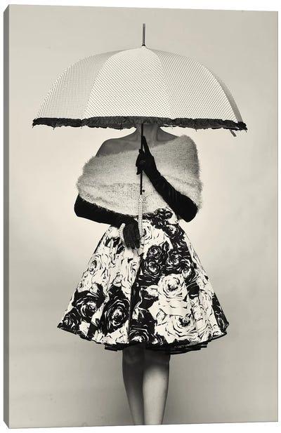 A Girl With An Umbrella Canvas Art Print