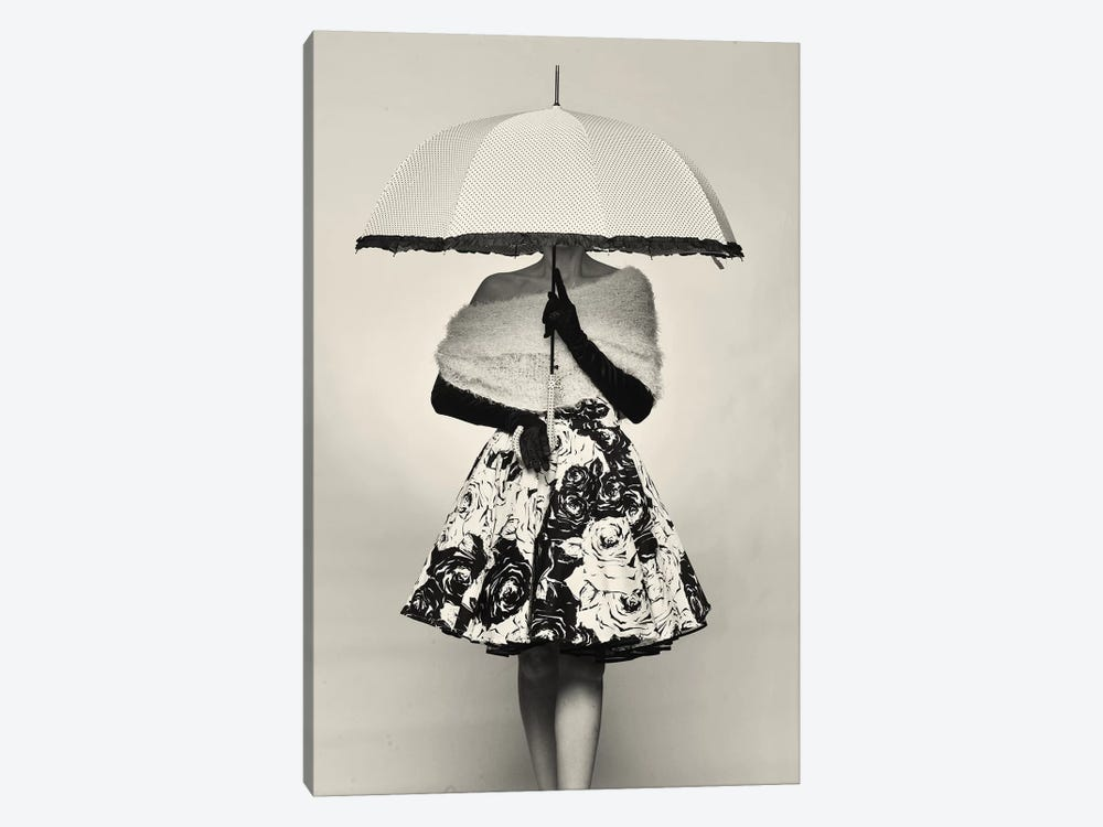 A Girl With An Umbrella by Avshalom Levi 1-piece Canvas Art Print