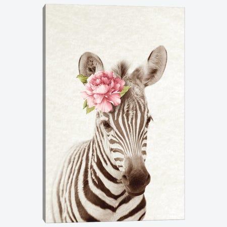 Floral Zebra Canvas Print #AVN55} by Amelie Vintage Co Canvas Wall Art