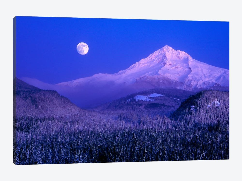 Moonlit Landscape Featuring Mount Hood (Wy'east), Oregon, USA by Janis Miglavs 1-piece Canvas Artwork