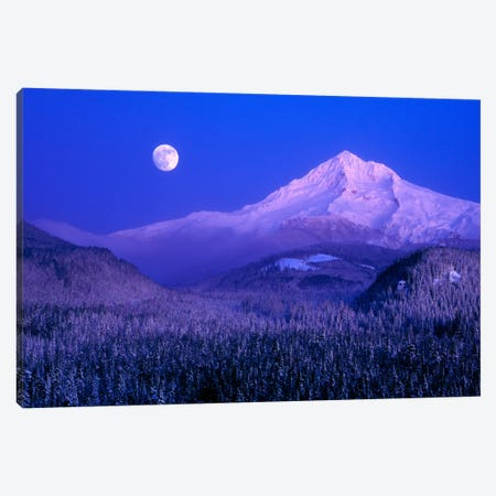Moonlit Landscape Featuring Mount Hood (Wy'east), Oregon, USA Canvas Print #AVS3} by Janis Miglavs Canvas Artwork