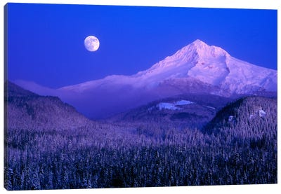 Moonlit Landscape Featuring Mount Hood (Wy'east), Oregon, USA Canvas Art Print