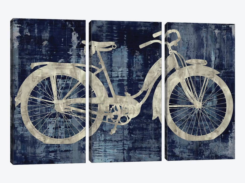 Vintage Ride In Blue by Amanda Wade 3-piece Canvas Art Print