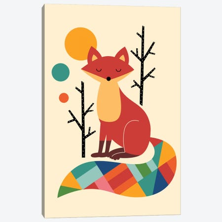 Rainbow Fox Canvas Print #AWE14} by Andy Westface Canvas Artwork
