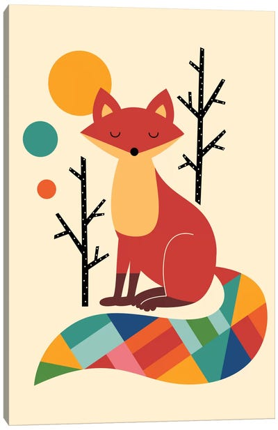 Rainbow Fox Canvas Art Print
