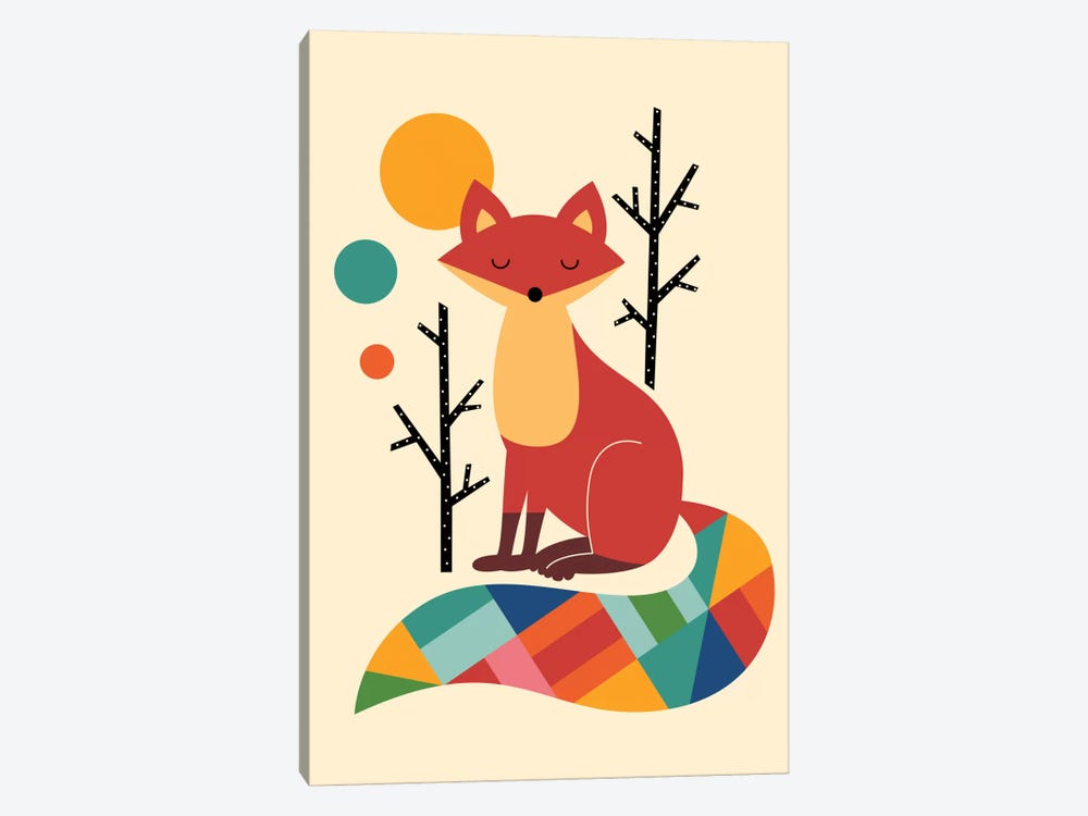 Rainbow Fox by Andy Westface 1-piece Canvas Print