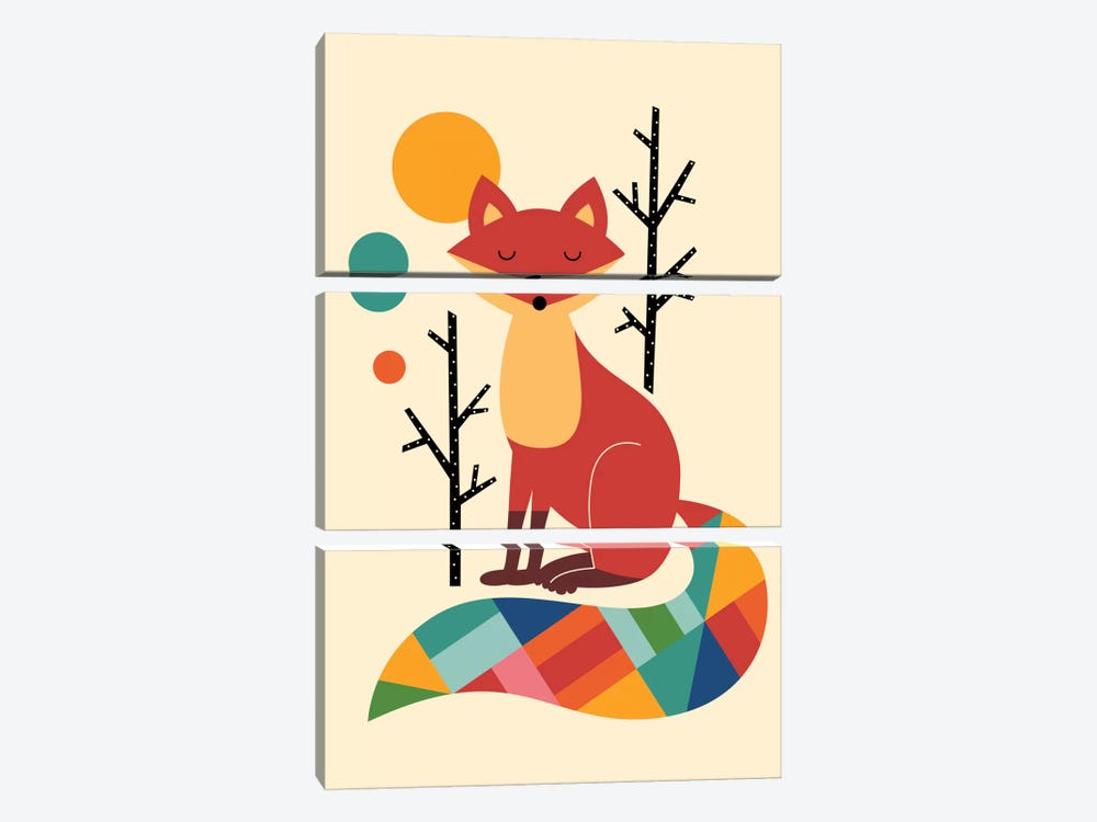 Rainbow Fox by Andy Westface 3-piece Canvas Art Print