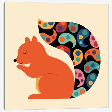 Paisley Squirrel Canvas Print #AWE34} by Andy Westface Canvas Wall Art