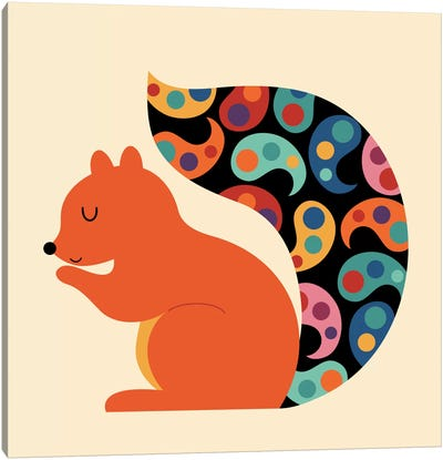 Paisley Squirrel Canvas Art Print