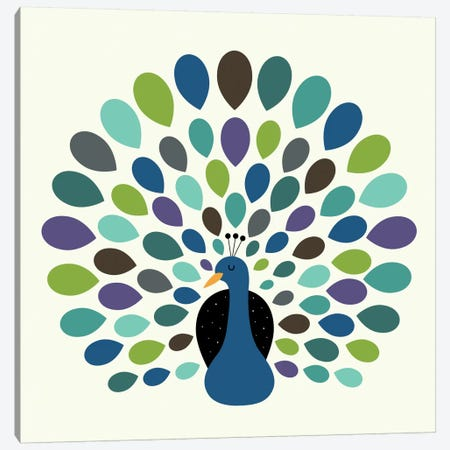 Peacock Time Canvas Print #AWE35} by Andy Westface Canvas Artwork