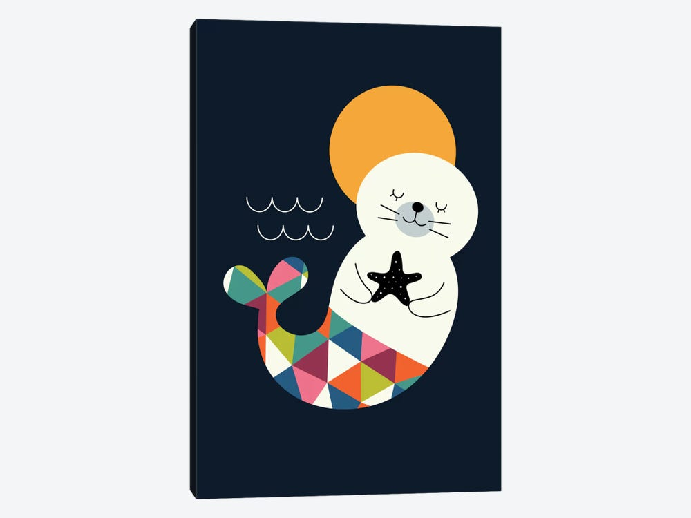 Seal Mermaid by Andy Westface 1-piece Canvas Art Print
