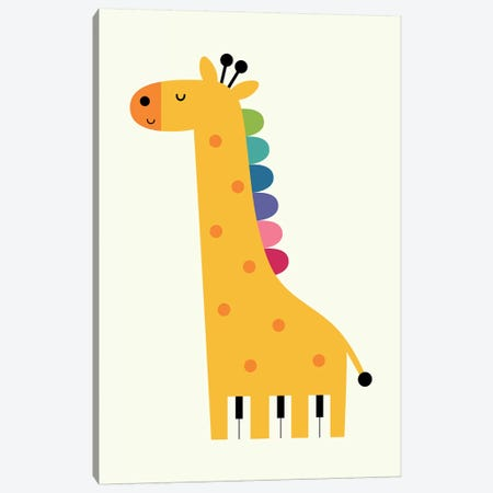 Giraffe Piano Canvas Print #AWE56} by Andy Westface Canvas Artwork